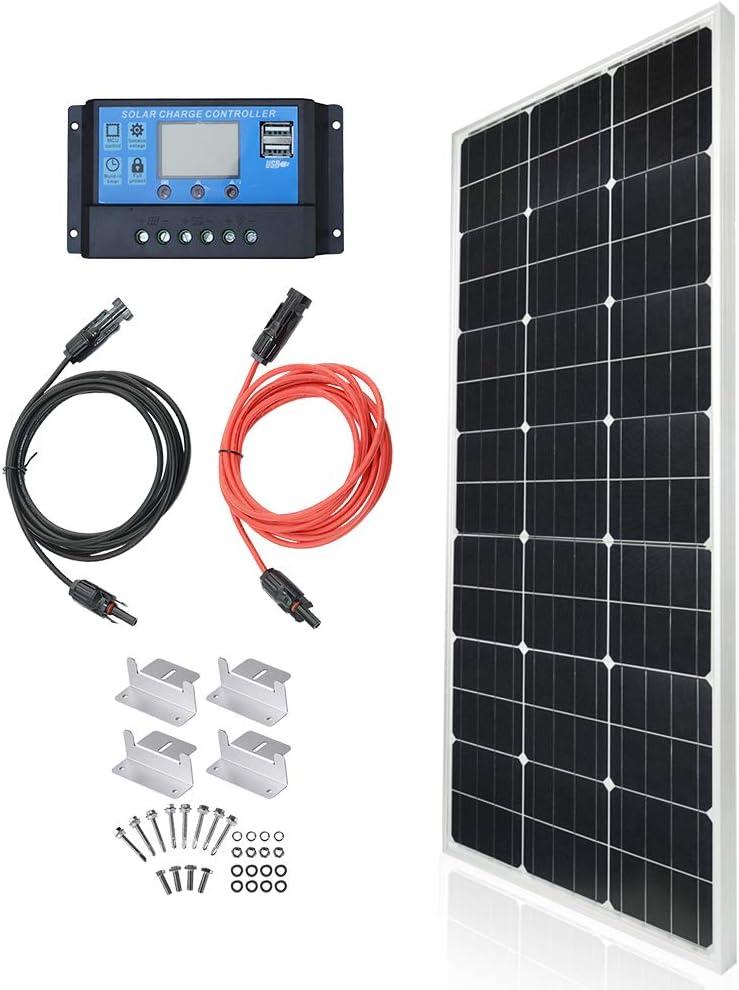 TP-solar Solar Panel Kit 100 Watt 12 Volt Monocrystalline Off Grid System for Homes RV Boat + 20A 12V/24V Solar Charge Controller + 16ft Solar Cables + Z-Brackets for Mounting