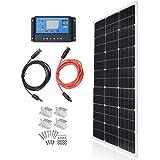 TP-solar Solar Panel Kit 100 Watt 12 Volt Monocrystalline Off Grid System for Homes RV Boat + 20A 12V/24V Solar Charge Contro