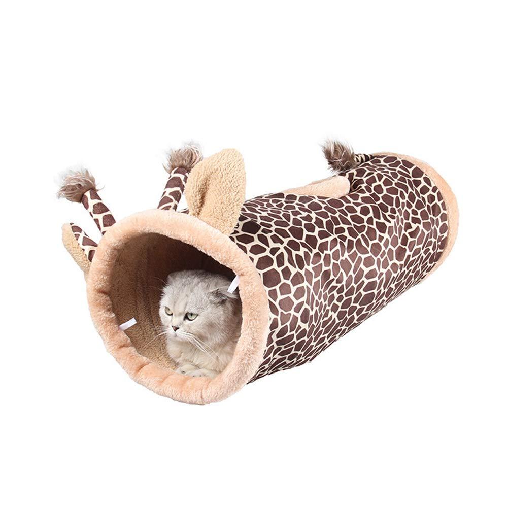 A Cat Tunnel Fun Collapsible Kitten Litter Drill Tube Roller Litter Factory Cat Supplies Cat Toys Folded Cat Channel Giraffe Tunnel