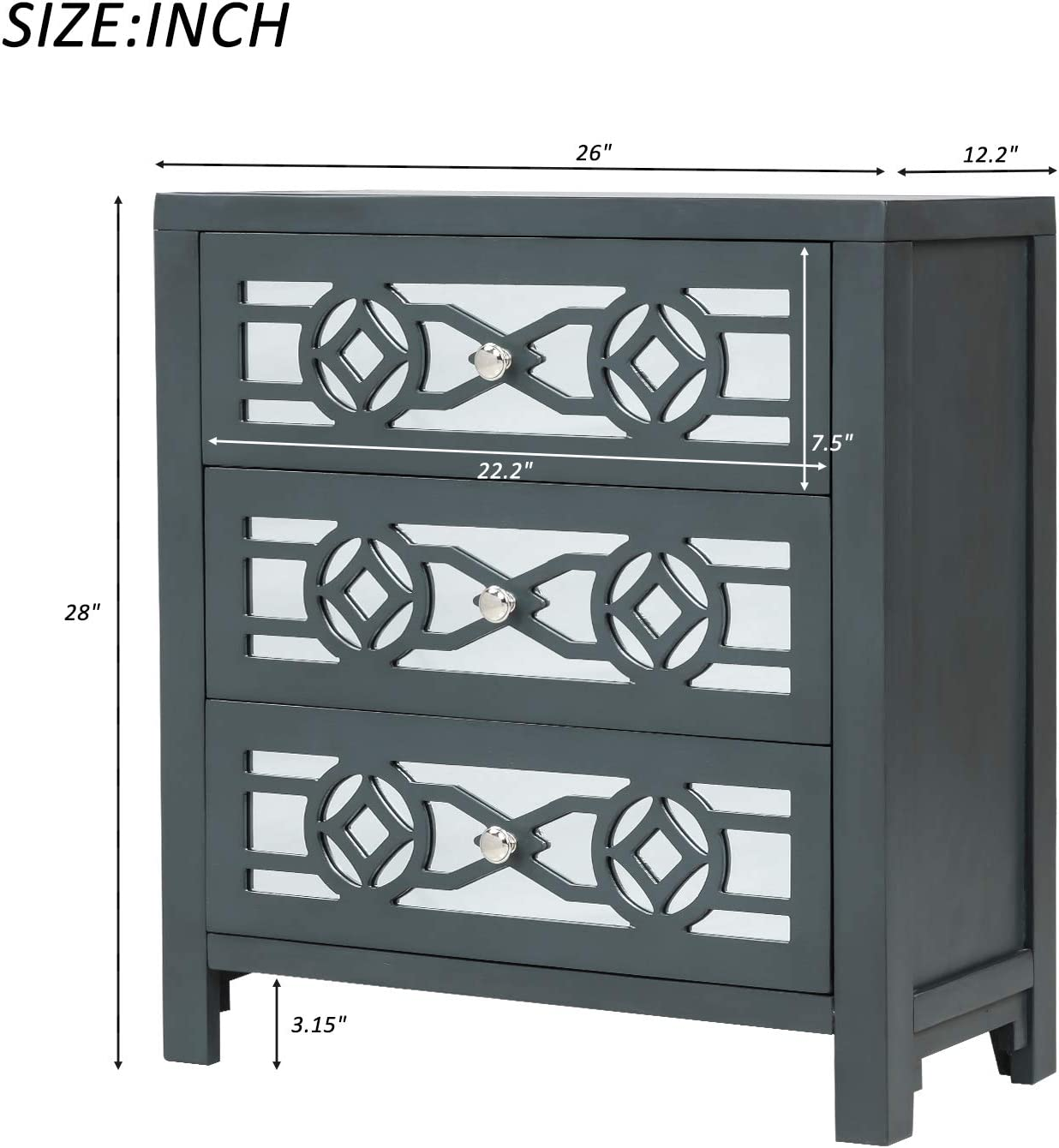 Entryway Solid Wood Frame Accent Cabinet with Wide Storage Space for Bedroom Antique Navy Living Room HomVent 3 Drawer Storage Unit with Decorative Mirror Fully Assemble Modern Chest of Drawers