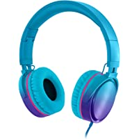 Rockpapa Grade Over Ear Headphones Foldable with Mic, Adjustable Headband Headsets for CellPhones Tablets Computers PC MP3/4 CD DVD in Car/Airplant Gradient Blue