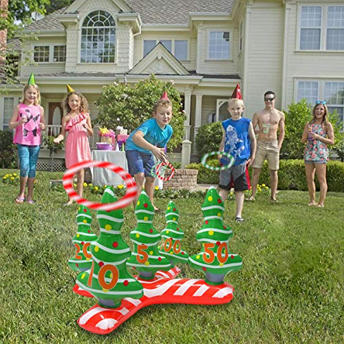 YHSBUY Inflatable Christmas Tree Ring Toss Games Set with 4 Ring Winter Holiday Toys Christmas Party Game Family Indoor Outdoor Game Include Handle Pump