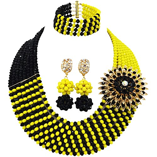 Jade Multi Necklace Color (aczuv 8 Rows African Bead Necklace Jewelry Set for Women Nigerian Wedding Bridal Jewelry Sets (Opaque Yellow Black))