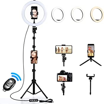 BigSK 10 inch Selfie Ring Light with Tripod Stand
