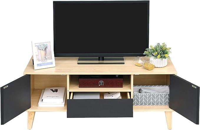 VASAGLE Mesa para TV Moderna, Mueble para TV con Cajón, 2 Puertas y Estante Abierto, Patas de Madera Maciza, 110 x 40 x 45 cm, Madera Natural y Color Gris LTV29NG: Amazon.es: