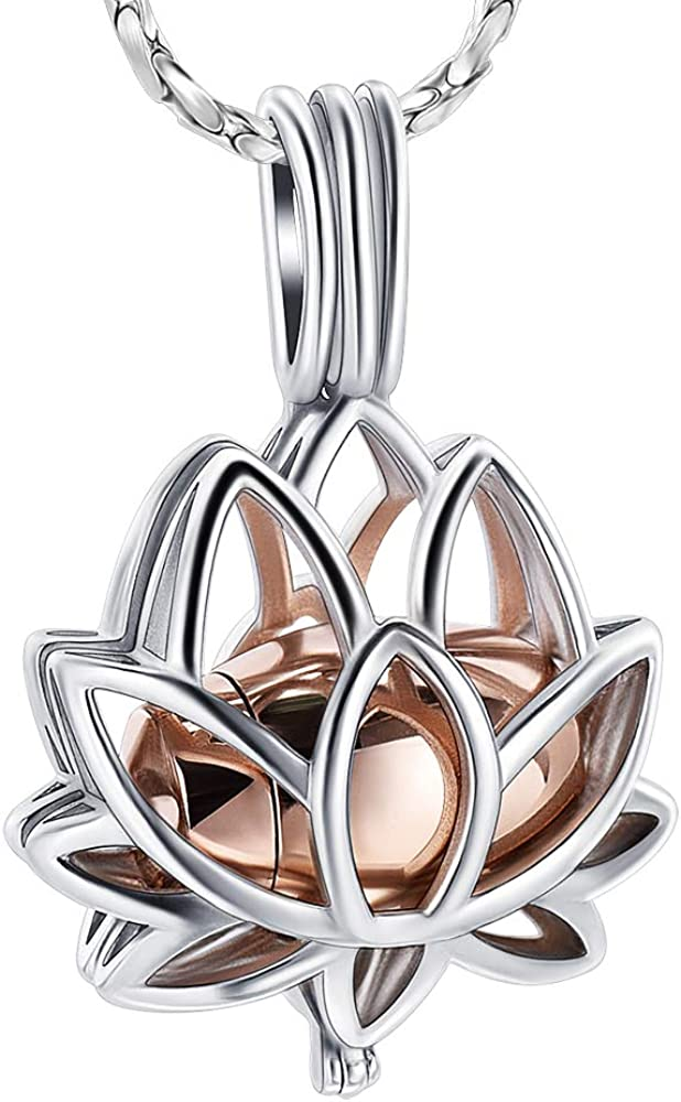 Imrsanl Cremation Jewelry for Ashes - Lotus Flower Ashes Pendant Necklace with Mini Keepsake Urn Memorial Ash Jewelry