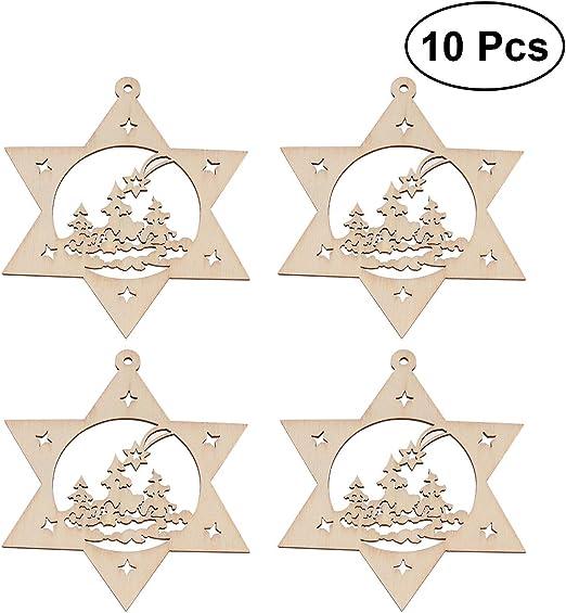 10pcs Cute Star Wooden Round Shape Craft Shape Tags Embellishment Decoration