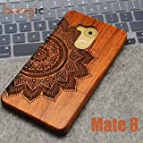 NAMEO Mate 8 Wood Case, Natural Carved Wooden Hard Case Cover for Huawei Mate 8 (Flower)
