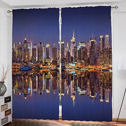 (Landscape Custom design Cityscape Scenery of New York City at Midnight Usa Ocean Reflection Coast Photo curtain Living Room Bedroom Window Drapes 2 Panel Set 108