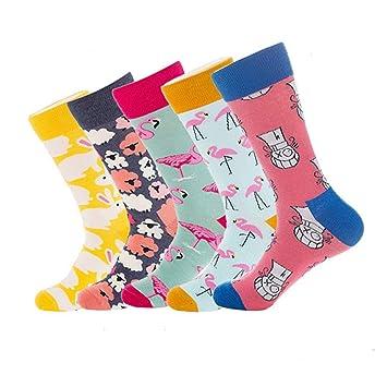 SIKESONG Tripulación De Moda Hombres Y Mujeres Calcetines De Algodón Tejido Caricatura Divertida Patineta Socks (5 Pares),Happy Socks: Amazon.es: Deportes y ...