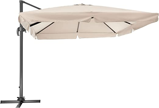 TecTake 800661 - Parasol Excéntrico, Sombrilla de Jardín, Aluminio ...