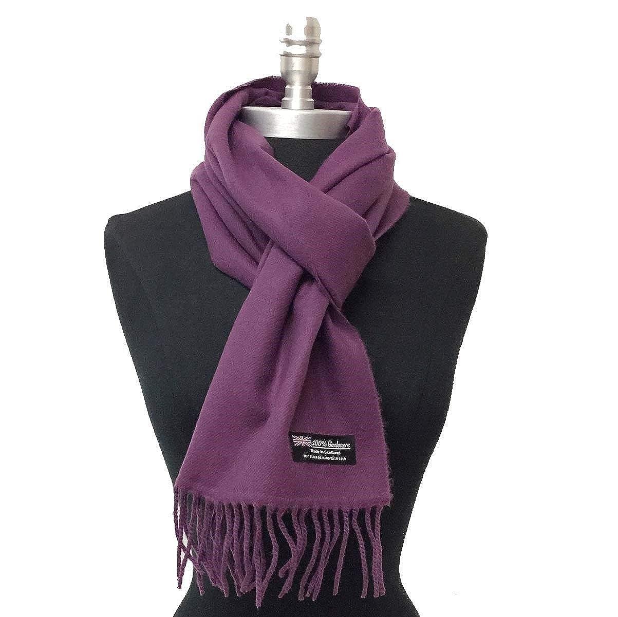 1678e65d912ed Fashion Women's Winter 100% Cashmere Scarf Wrap Scotland Soft Solid Dark  Purple at Amazon Women's Clothing store: