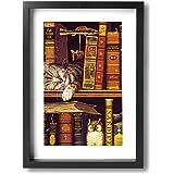 ホームデコレーション 壁の絵 ボヘミアン猫 図書 かわいい 現代壁の絵 キャンバス絵画 廊下 額縁 絵画 軽くて取り付けやすい (木枠付22x33 Cm)
