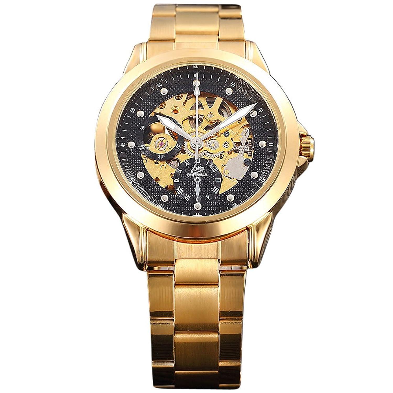 SHENHUAメンズゴールド中空スケルトンダイヤモンド装飾ステンレススチール自動機械腕時計 1# B072FB8JJB1#