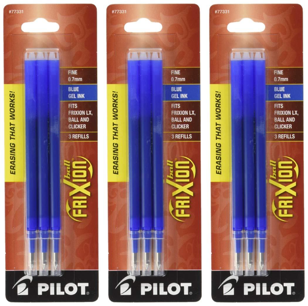 Pilot Gel Ink Refills for FriXion Erasable Gel Ink Pen, Fine Point, Blue Ink, 3 Packs 9 refills total by Pilot
