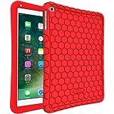 """Fintie Funda de Silicona para iPad 9.7"""" 2018/2017, iPad Air 2, iPad Air - [Honey Comb Series] Carcasa Ligera de Silicón Antideslizante para Niños a Prueba de Golpes, Rojo"""