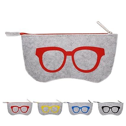 Calistouk niceyo suave cremallera bolsa de maquillaje para gafas, gafas de sol de almacenamiento funda de fieltro