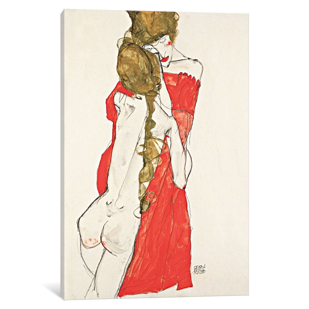 1.5 x 40 x 60-Inch iCanvasART 3-Piece Mother and Daughter Canvas Print by Egon Schiele
