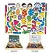 Yixin Educational Wooden Double Sided Drawing Board and Magnetic Easel Jigsaw Puzzle Board with Foldable Box For Kids over 3 Years Old
