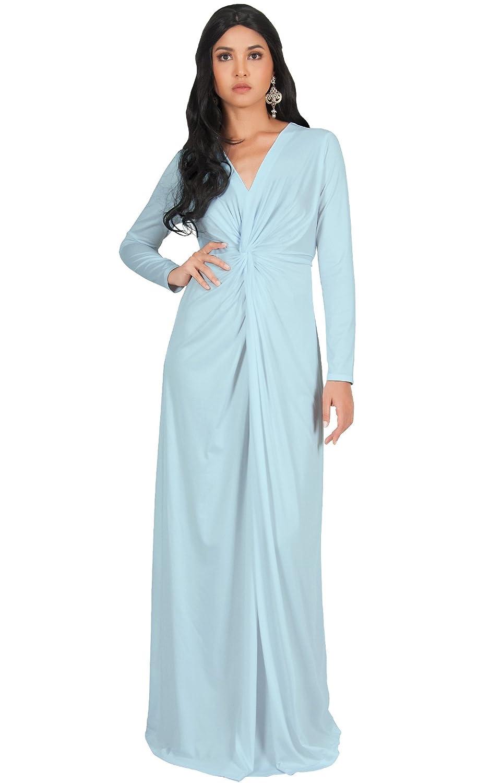 KOH KOH Womens Long Sleeve Semi Formal Fall Winter Flowy Gown Maxi ...