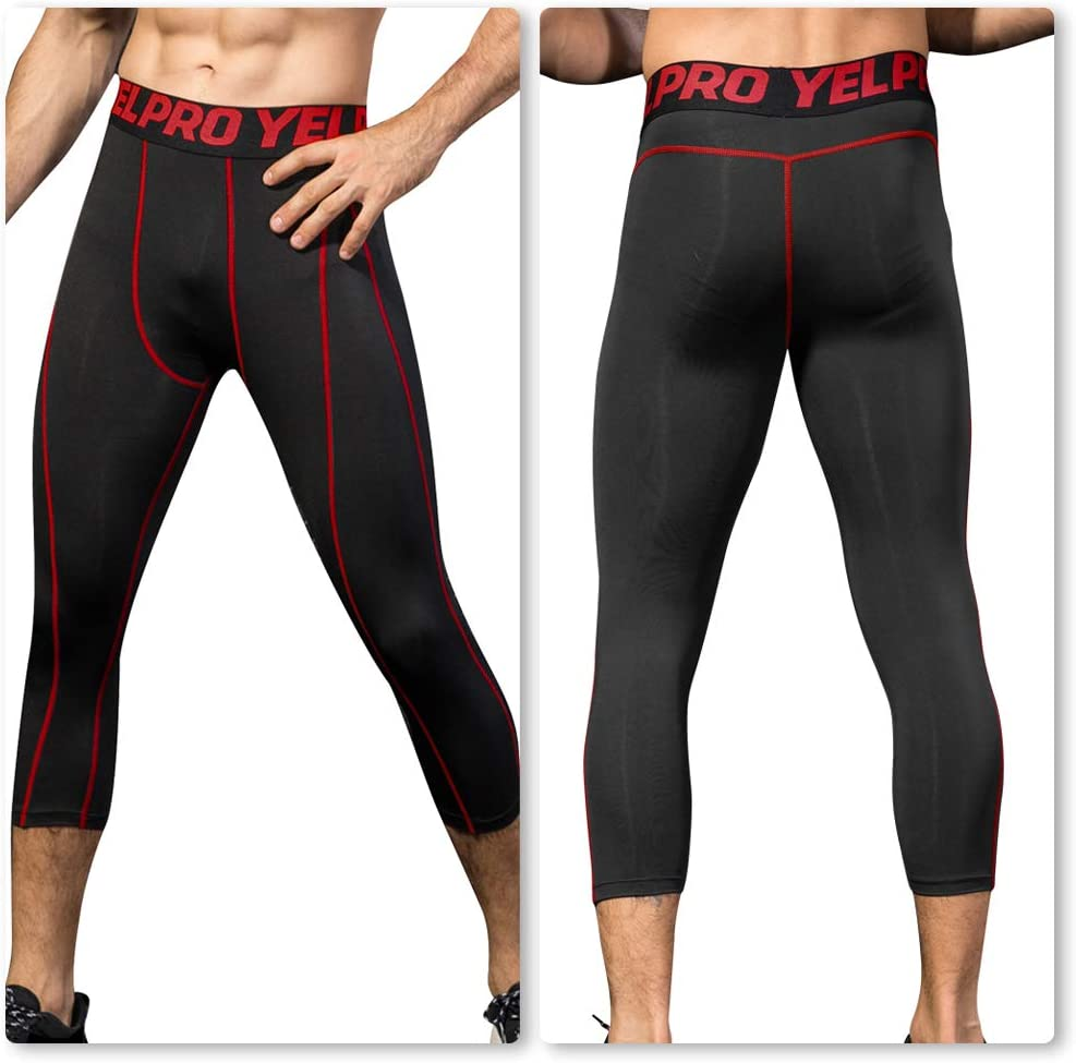 Black Red Line US XXL Pantalones Deportivos de compresi/ón 3//4 para Hombre Yuerlian