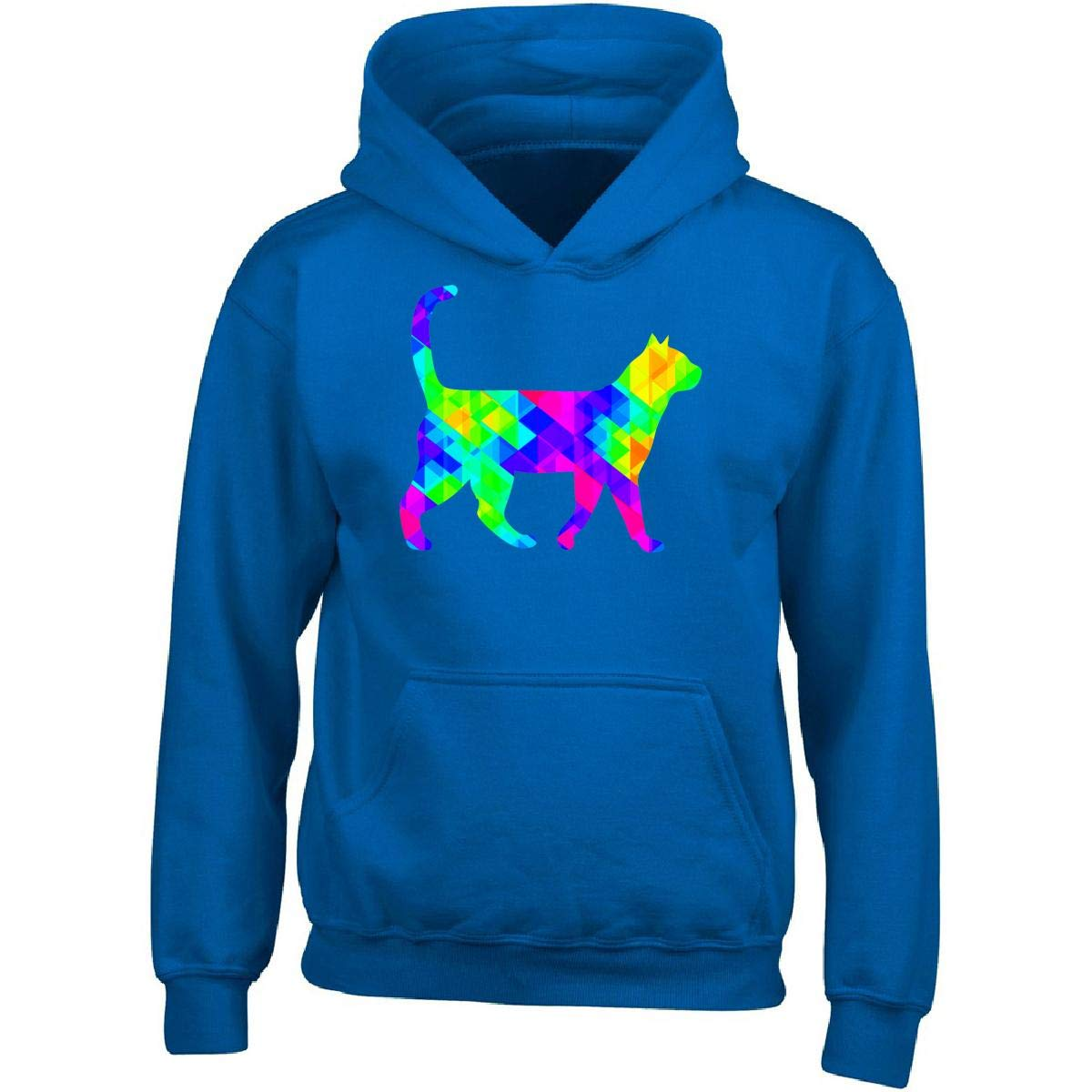 Rainbow Colorful Square Cat Blue Adult Hoodie