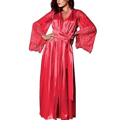 3571213965160 iYmitz ♛ Femmes Satin Longue Dentelle en Soie Lingerie Chemise De Nuit Robe  De Nuit Sexy Pyjama Rose Classic: Amazon.fr: Vêtements et accessoires