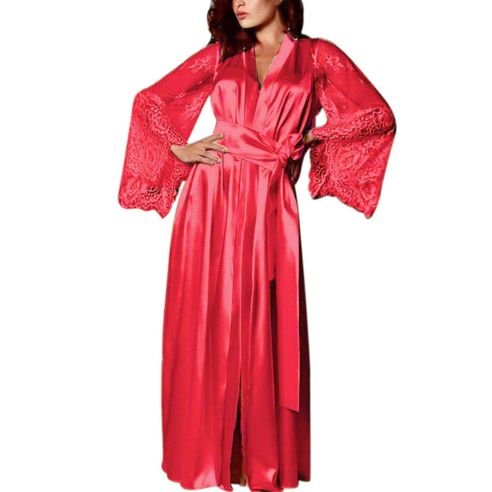 Women's Plus Size Sexy Silk Sleepwear Lace Sleeve Satin Long Nightdress Simplicity Style Robe Elegant V-Neck Nightwear (M) Red