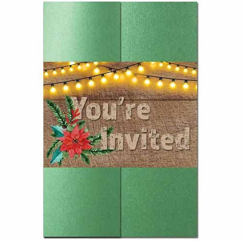 Rustic Holiday Invitation Kit - 80 Pack