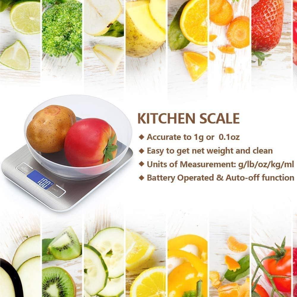 Balance de Cuisine 5Kg// 0,1g Haute Precision Balance Alimentaire LCD Inoxydable