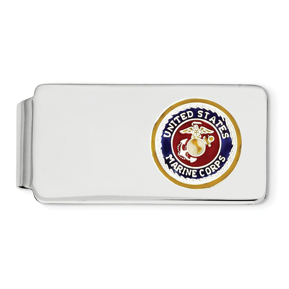 Marine Corp Money Clip w// gold border silver anchor Sterling Silver U.S
