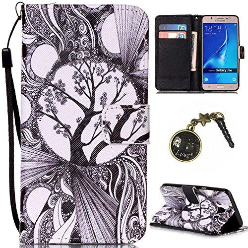 Para Smartphone Samsung Galaxy J5(2016) J510móvil, Funda de piel para Samsung Galaxy J5(2016) J510Flip Cover Funda Libro Con Tarjetero Función Atril magnético + Polvo Conector negro 3 2