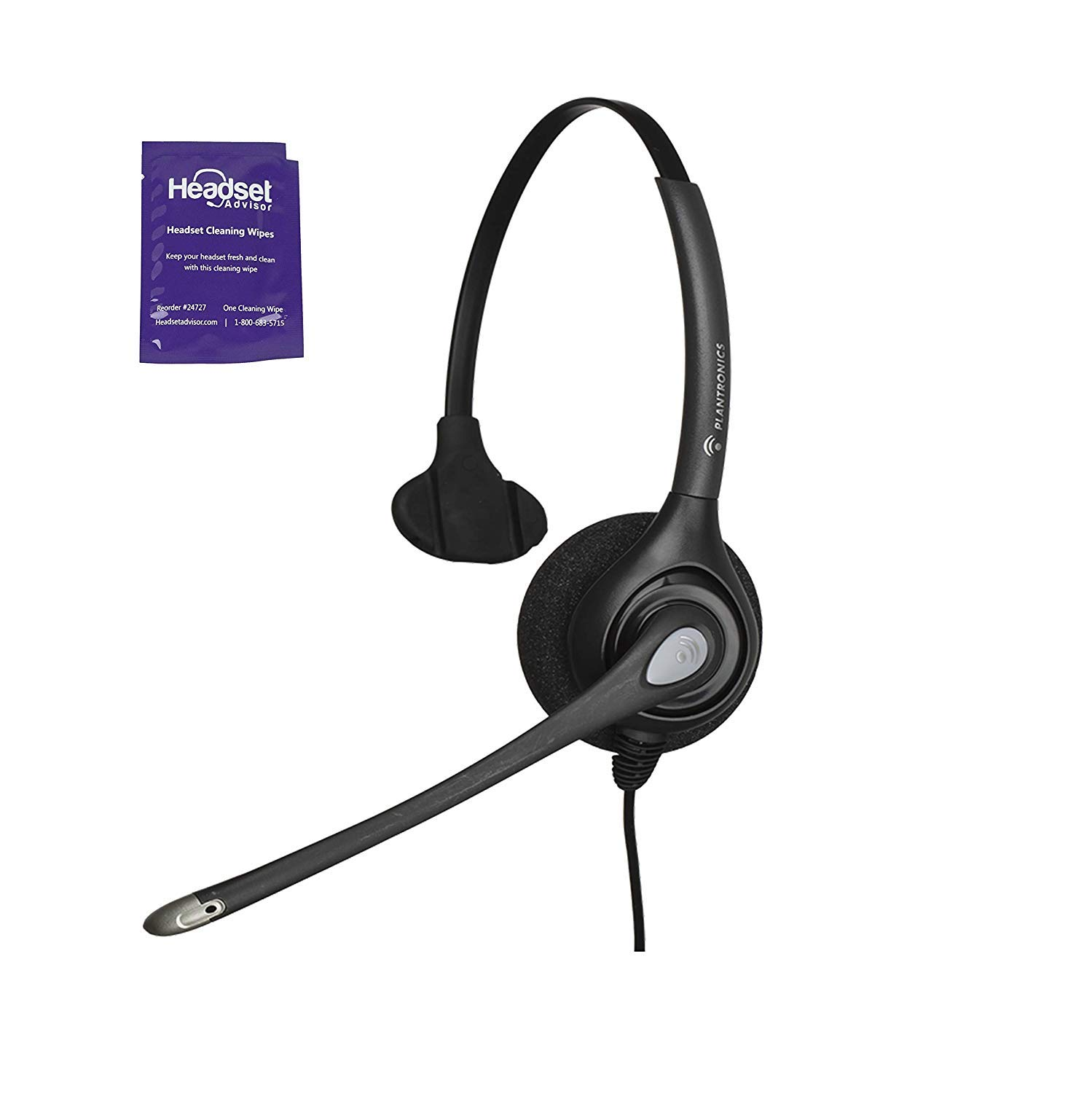Plantronics HW251n Wired Office Headset Bundle With Headset Advisor Wipe (Renewed) by Plantronics