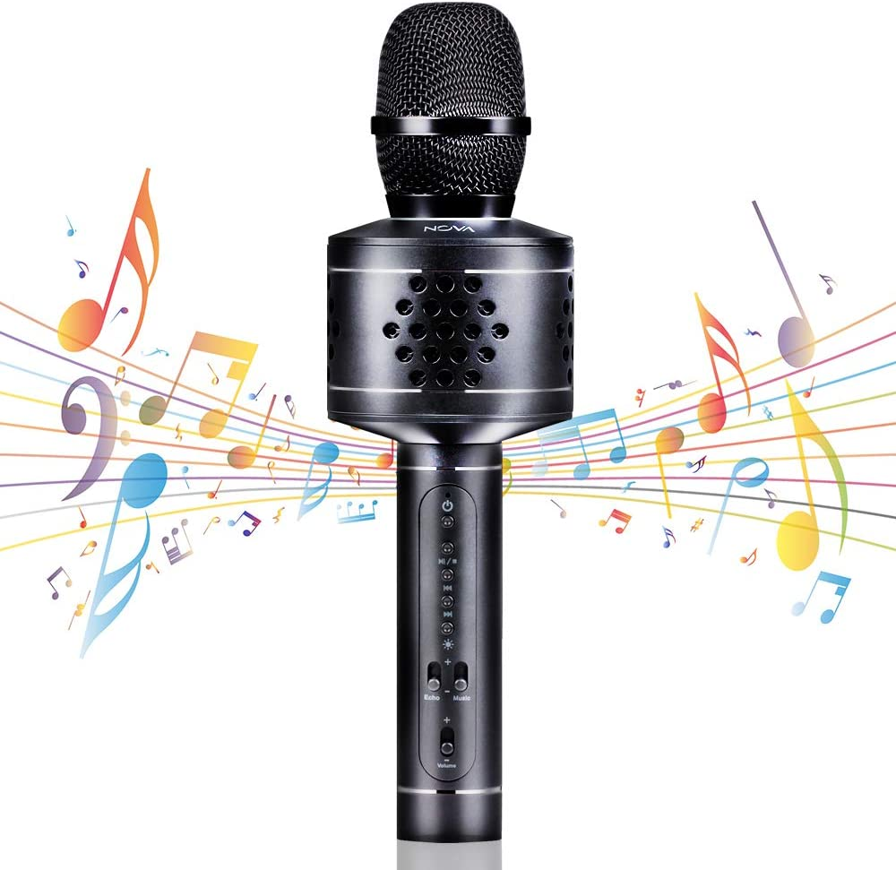 Mbuynow Wireless Bluetooth Karaoke Microphone with Phone Holder Portable Karaoke Machine Speaker Home Party Birthday for Android//iPhone//iPad//Sony//PC Black