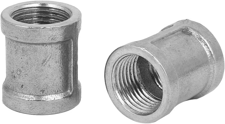 uxcell Stainless Steel 304 Cast Pipe Fittings Coupling Fitting 1//2 X 1//2 G Male 2pcs