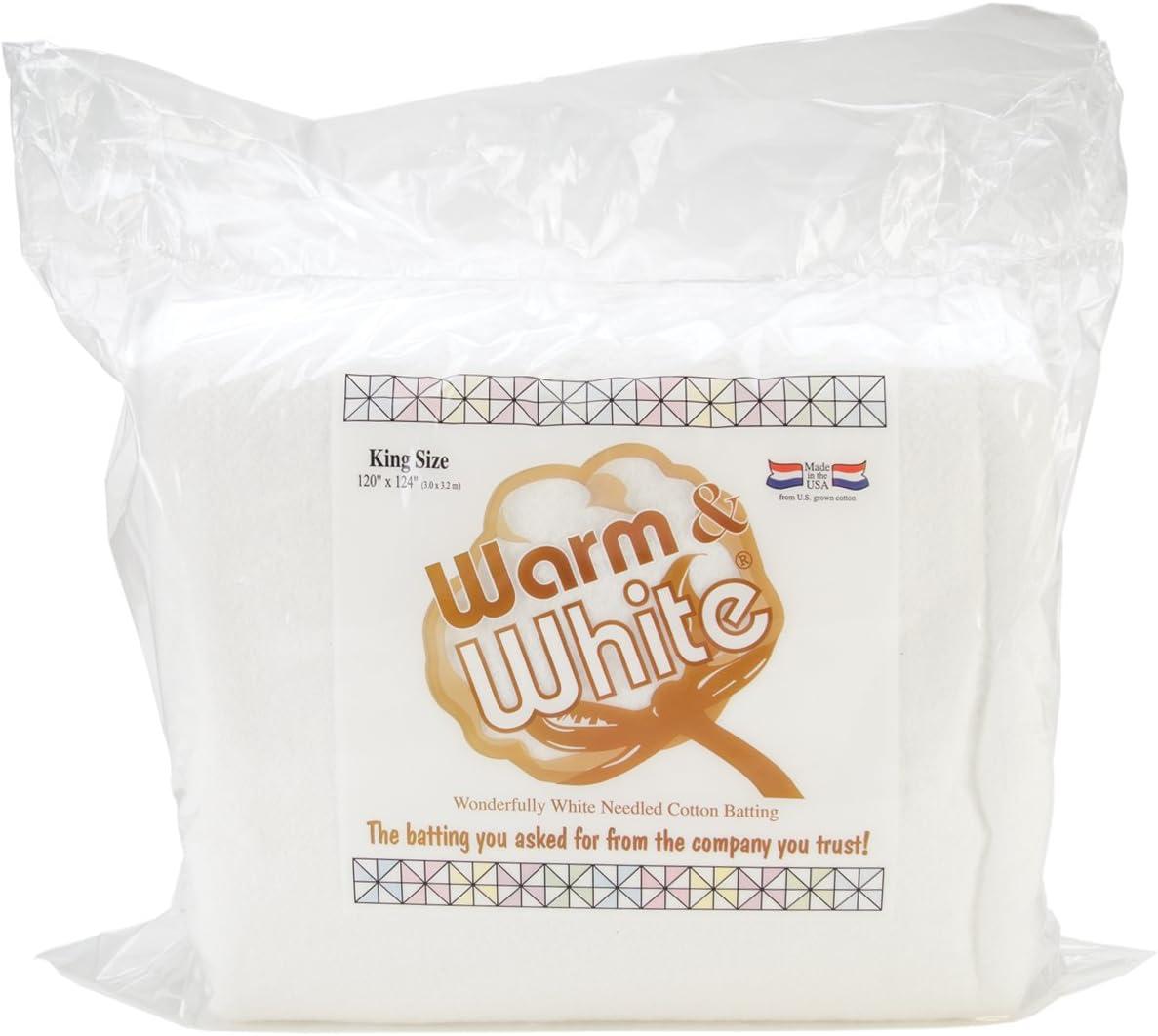 120in x 124in King Size None Warm Company Batting Warm /& White Cotton Batting