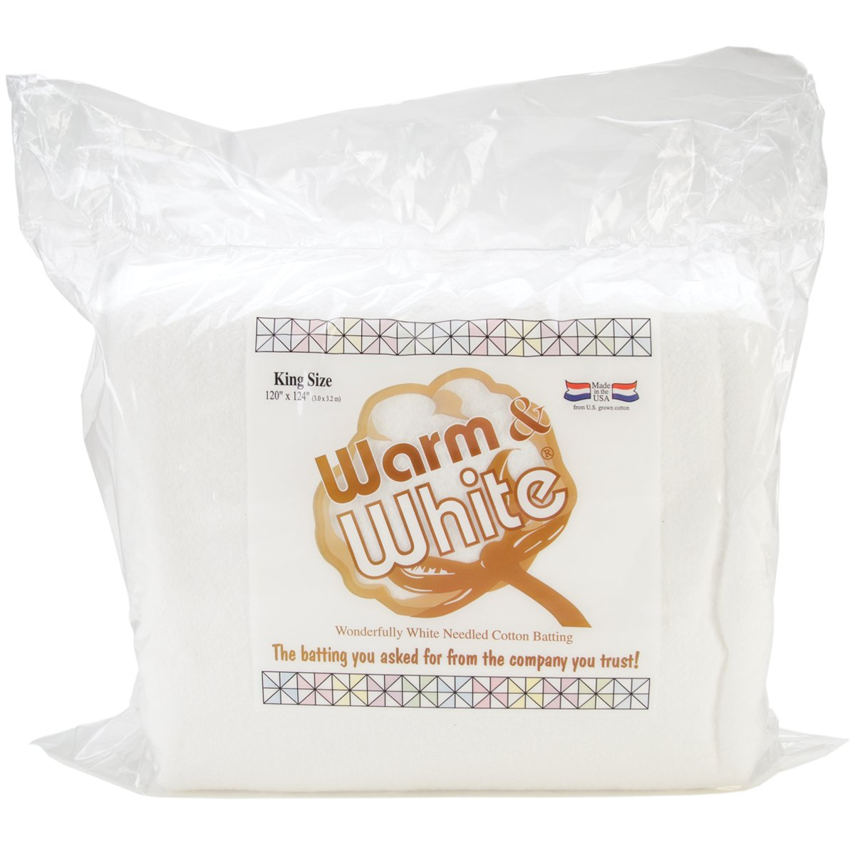 Warm Company Batting 120-Inch by 124-Inch Warm and White Cotton Batting, King 2451