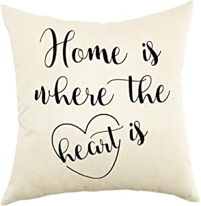 """Ogiselestyle Unique Pillow Shams Beautiful Cotton Linen Home is Where The Heart is Pattern Sofa Simple Home Decor Throw Pillow Case Cushion Cover 18"""" x 18"""""""