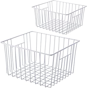 SANNO Freezer Wire Storage Organizer Basket, Open Refrigerator or Freezer Food Storage Bin with Handles for Cabinets, Pantry, Closets, Bedrooms - Set of 2