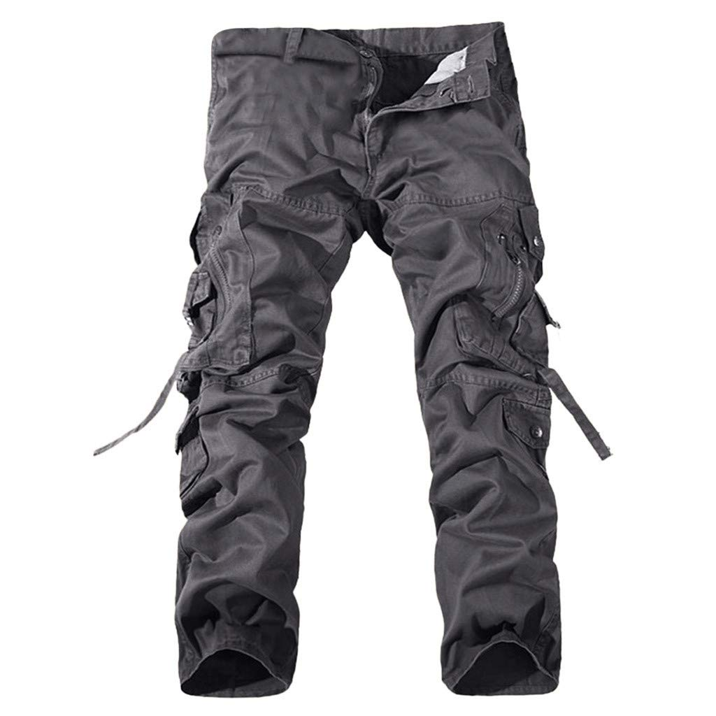Alangbudu Men Relaxed Fit Casual Cargo Pant Combat Hiking Trousers Loose Tactiacl Outdoor Army Trousers Zip Bandge
