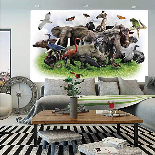 Wildlife Decor Removable Wall Mural,Digital Collage of Wild Animals with African Safari Animals Zoo Print Artwork,Self-Adhesive Large Wallpaper for Home Decor 66x96 inches,Multi