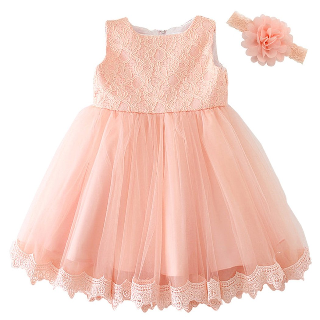 Coozy Baby Girls Dress Infant Princess Christening Baptism Party Birthday Formal Dress (Pink (Style 3), 3M/0-6months)