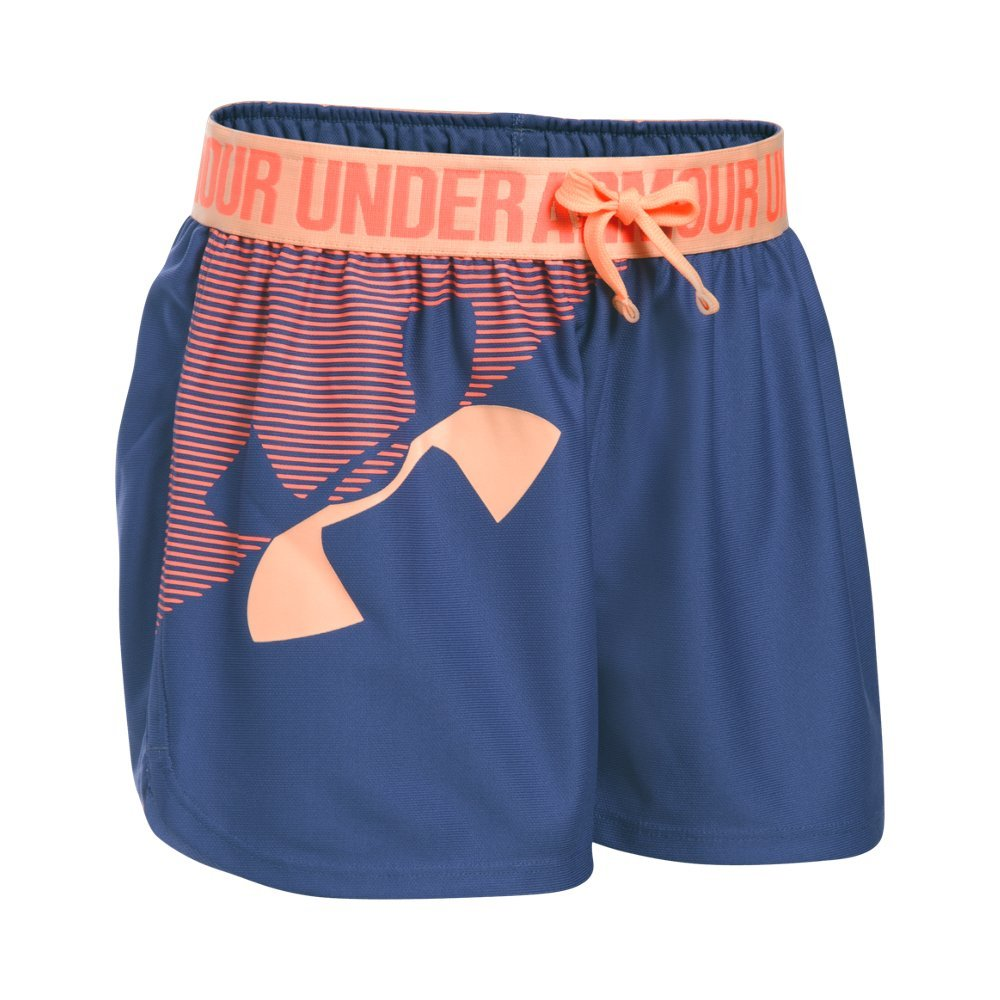 Under Armour Girls' Graphic Play Up Short, Deep Periwinkle (178)/Playful Peach, Youth X-Large