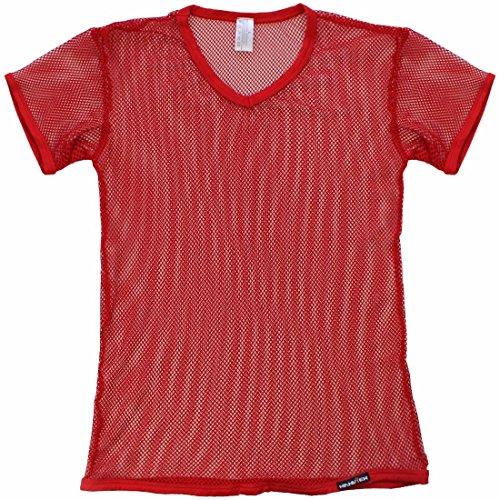 para XL Corta Hombre de Transparente Chaleco Camiseta Atractivo Malla Camisa Chaleco Manga Los Hombres de Camiseta M iiniim Rojo TxqOw4n