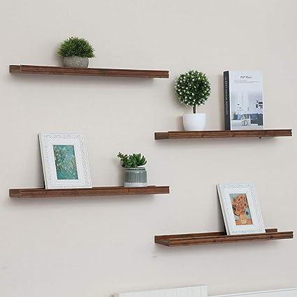 Muzilife - Estante de pared (2 unidades, 115 x 12 cm, hasta 10 kg, madera), diseño vintage, para marcos de fotos, libros, CD, cafeterías, habitaciones ...