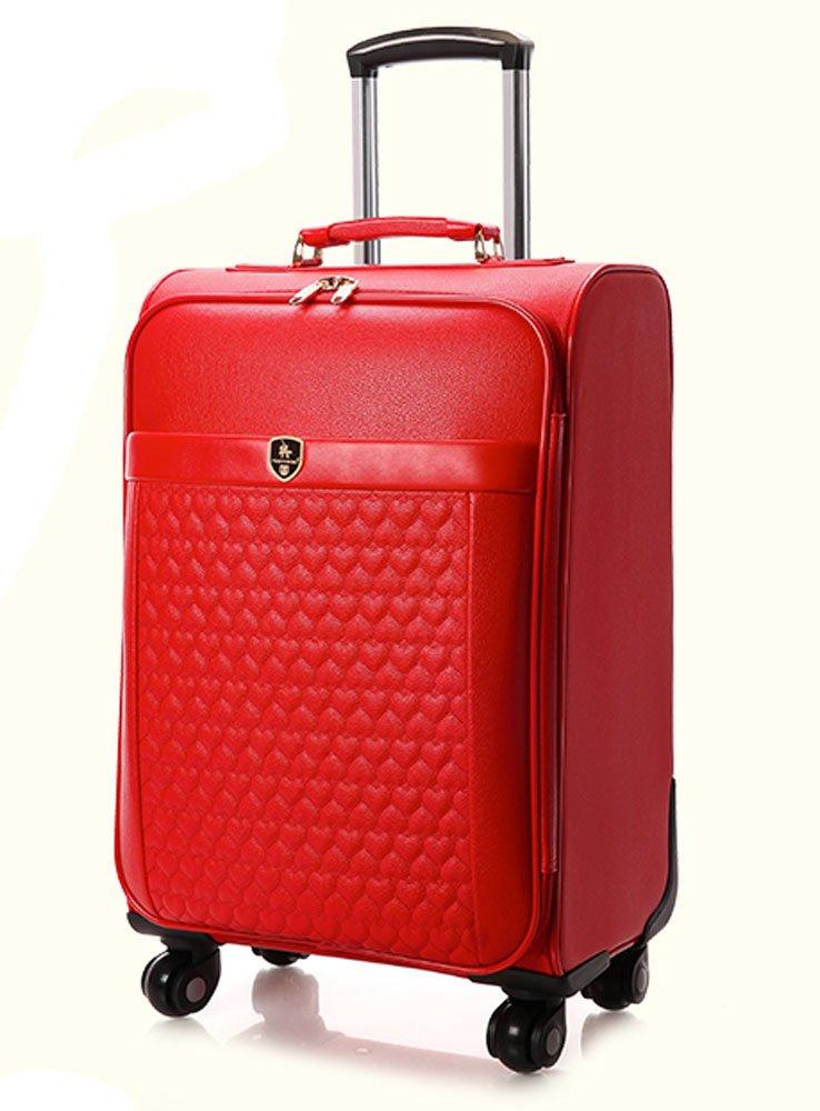 Femoooboro Women PU Leather Spinner Wedding Luggages 24'' - Red by Femoooboro