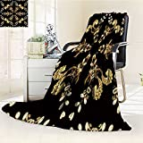 DOLLAR Blanket,floral ornament brocade textile pattern glass metal with floral pattern on blac Traveling, Hiking, Camping, Full Queen, TV, Cabin, Couch, Bed Throw(60''x 50'')
