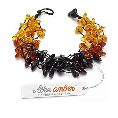 7bc9c314125 Bracelet Femme - Bracelet d  Ambre Femme - Élastique - miel   cognac    cerise