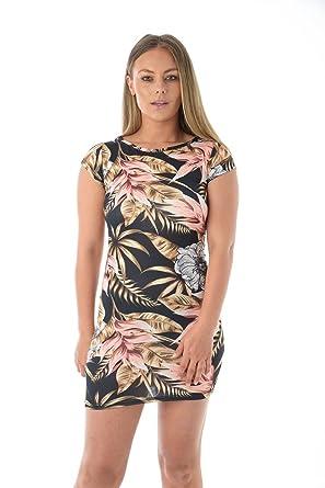b85f8dfe570 MISS BOHO CHIC Women Casual Summer Flower Print Tunic Mini Bodycon Dress   Amazon.co.uk  Clothing