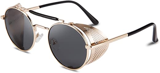 Retro Round Metal Hd Polarized Punk Steampunk Sunglasses Women Men Vintage